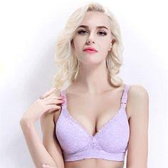74b82f10ce HEART SPEAKER Maternity Nursing Sleep Bra Cotton Wireless Button Clip  Breastfeeding Underwear size 3680 B Purple
