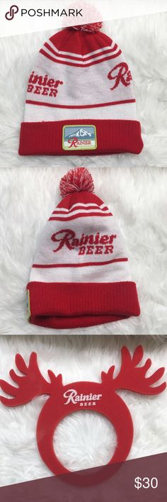 Rare Rainier Beer Beanie Rainier Beer beanie. Only available at Rainier beer days at the factory in Seattle. Not sold to public. Brand new!! Hard to find. Comes with 2 free red & silver beads from the fest as well as free red foam Rainier beer antlers only available to rainier Beer employees also brand new!! • No Trades • Price is firm unless Bundled • 15% off of bundles of 3 or more • Buckle Accessories Hats