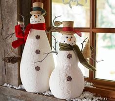 Paper Mache Snowmen