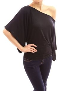 PattyBoutik Kimono Sleeve One Shoulder Tops $29.99 on amazon.com with 8 colours!