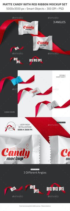 Matte Candy with Red Ribbon Mockup Set by Country4k | GraphicRiver