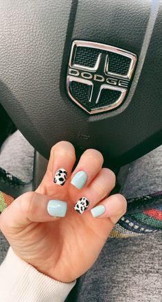 Teal Acrylic Nails, Simple Acrylic Nails, Simple Nails, Rodeo Nails, Western Nails, Country Nails, Cute Gel Nails, Cow Nails, Nagellack Design