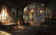 The Elder Scrolls Online ( Fantasy Rooms, Fantasy Castle, Fantasy House, Fantasy Places, Medieval Fantasy, Fantasy World, Fantasy Bedroom, Fantasy Concept Art, Fantasy Artwork