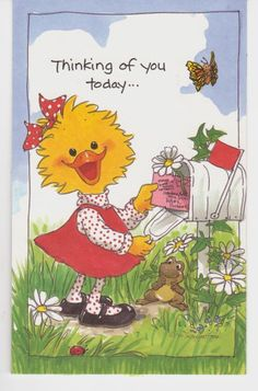 Suzy's Zoo Greeting Card Suzy Ducken Thinking Of You Friends And Flowers W/Env