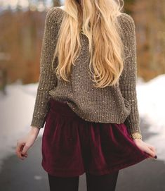 Sweater & Maroon Skirt~ remember my maroon velvet skirt w cable sweater, or my beige bf sweater. maybe brown or maroon leggings w my Todds bootie or beige bootie or blk leather hh bootie & blk & blk coat. Looks Street Style, Looks Style, Look Fashion, Street Fashion, Womens Fashion, Fall Fashion, Fashion News, Runway Fashion, Fashion Sale