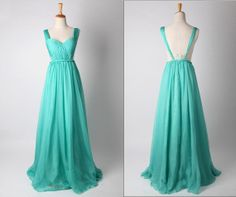 Turquoise Strapless Chiffon Prom Dress Simple Bridesmaid Dress Long Evening Dress