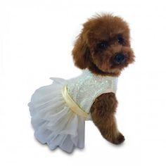 Fufu Hollywood Hologram Sequin Ivory Tutu Dog Dress – Bark Label