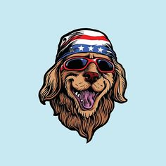 'American Golden Retriever' by LazyKoala Golden Retriever Americano, American Golden Retriever, Skull Face Mask, Canvas Prints, Art Prints, Laptop Decal, Usa Flag, Stars And Moon, Dogs