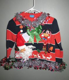 Kids Candy Cane Garland, 3-D Sleigh Bells and Santa and Reindeer Fun Tacky Ugly Christmas Sweater Boys Girls  10/12 Large Free Shipping
