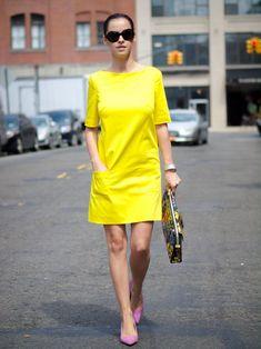 bittersweet colours, nyfw, nyfw street style, street style, New York, piol dress, sophie hulme floral bag, cooee jewelry, neon yellow dress, Ralph Lauren