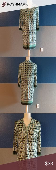 """Donna Morgan Dress Beautiful Teal/Green/Blue Multicolor Dress 3/4 Sleeve 38"""" Bust 39"""" Length  Polyester Spandex Bundle and Save Donna Morgan Dresses"""