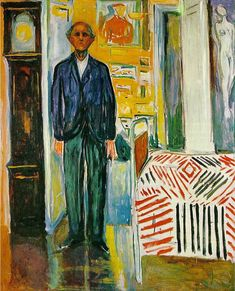 Edvard Munch - Self-Portrait Between the Clock and the Bed 1940/43 - Munch Museum, Oslo
