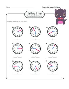Practice writing the digital time when an analog clock is given with this free worksheet! #freeworksheets #tellingtime #tellingtimepractice #printableclocks