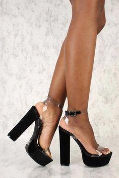 f0c9fa503 shoes · Sexy Black Clear Strap Accent Platform Pump Chunky High Heels Faux  Velvet #Platformhighheels