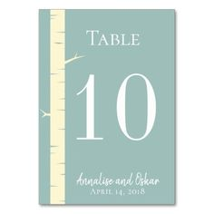 Simple Eggshell Blue Birch Wedding Table Numbers #wedding #suites #reception #party