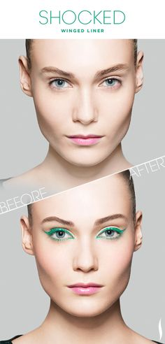 Before & After: SEPHORA+PANTONE UNIVERSE Shocked Winged Liner #SephoraPantone #Sephora #Emerald @PANTONE COLOR