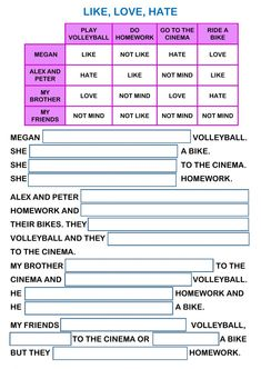 Likes and dislikes interactive and downloadable worksheet. Check your answers online or send them to your teacher.