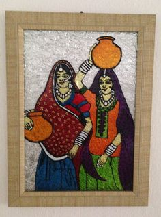 Village Ladies Fetching Water From The Village Well - Glass Painting