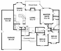 First Floor Plan of Ranch   House Plan 62563