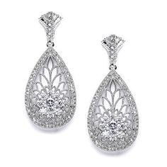 Plated Rhodium Art Deco Etched Pave CZ Drop Earrings – Kindred Jewelleria