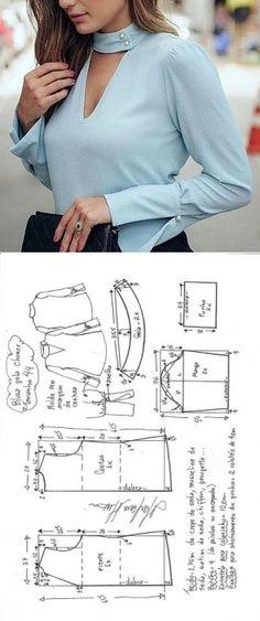 Sewing Blusas blusa gola choker e punhos largos Clothing Patterns, Dress Patterns, Sewing Patterns, Make Your Own Clothes, Diy Clothes, Fashion Sewing, Diy Fashion, Costura Fashion, Sewing Blouses