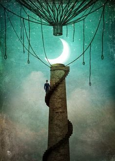 """""""Enter the Sky """" Digital Art by Christian Schloe posters, art prints, canvas prints, greeting cards or gallery prints. Find more Digital Art art prints and posters in the ARTFLAKES shop. Magritte, Illustrator, Sky Digital, Midnight Sky, Surrealism Painting, Sky Art, Wassily Kandinsky, Moon Art, Nocturne"""