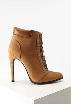 Faux Suede Lace-Up Booties | Forever 21 #stepitup