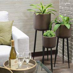Set of three sleek, mid-century design planters with gold rims in a dark bronze finish; Retro Home, Decor, Mid Century Design, Accent Decor, Urban Decor, Indoor, Mid Century Decor, Home Decor, Plant Stand