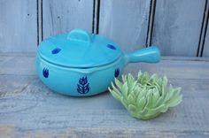 Blue Tulip Bean Pot Blue Soup Crock Cameron by SweetPetuniaVintage