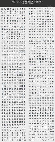 Ultimate Free Icon Set (1000 Icons). This is a great set to use as a starting point to create your own!
