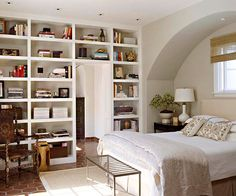Bedroom with bookcases