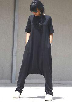 Black jumpsuit one piece romper cotton jumpsuit Gothic