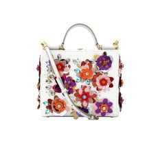 Dolce & Gabbana Small Sicily Rhinestone Shopping Bag In Bianco Beautiful Handbags, Floral Motif, Sicily, Shoulder Strap, Shoulder Bags, Shopping Bag, Coin Purse, Polka Dots, Wallet