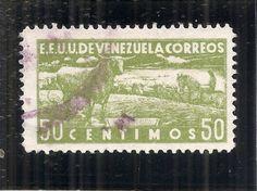Venezuela-1937-Cattle-Pictorial-50-cent-value-Used