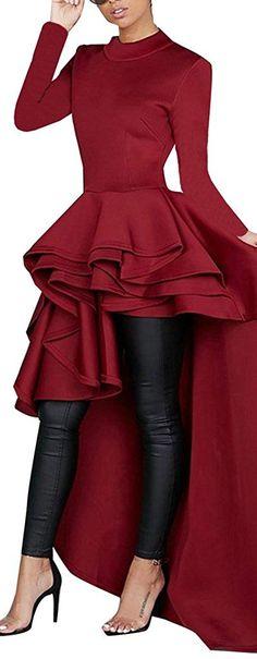 623a02a3123 Kearia Women Ruffle High Low Asymmetrical Turtleneck Short Sleeves Tops  Blouse Shirt Dress Red XLarge at