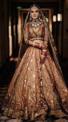Latest Bridal Lehenga, Designer Bridal Lehenga, Indian Bridal Lehenga, Indian Bridal Outfits, Indian Bridal Fashion, Indian Bridal Wear, Indian Fashion Dresses, Golden Bridal Lehenga, Lehenga Color Combinations