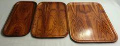 Mid Century Modern 3 Nesting Teak Wood Trays Backman Finland | eBay