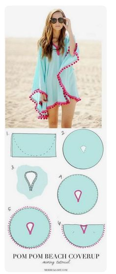 DIY Pom Pom Poncho Beach Cover Up. Easy sewing tutorial DIY Pom Pom Poncho Beach Cover Up. Easy sewing tutorial DIY Pom Pom Poncho Beach Cover Up. Sewing Hacks, Sewing Tutorials, Sewing Patterns, Sewing Tips, Sewing Basics, Sewing Ideas, Free Sewing, Diy Gifts Sewing, Knitting Patterns