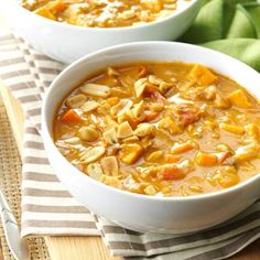 Spicy Peanut Soup - to try soon - recommended by Alithea! (Might cut back on curry paste and add quinoa!)
