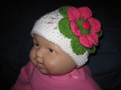 Hat WHITECORALGREEN  Crochet  for Babies Head Size 16 Inches.