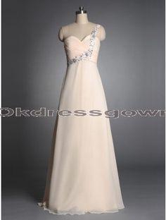 ivory sweetheart long chiffon one shoulder prom dress, prom dresses under 200