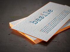 Birth Announcement Card BASILE Letterpress printing 2 colors, Edge colouring  www.letterpressgust.com
