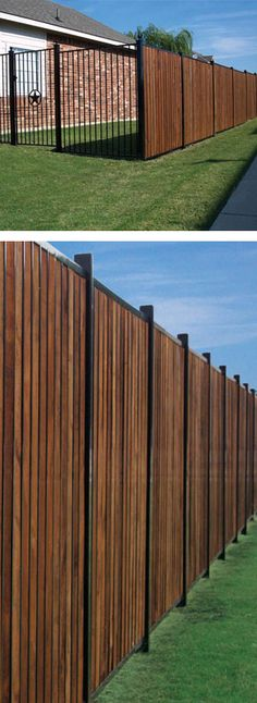 Thrilling Privacy fence on a slope,Vinyl fencing ideas and Modern fence options. Dog Fence, Wood Privacy Fence, Privacy Fence Designs, Front Yard Fence, Fenced In Yard, Fence Gates, Wood Fences, Horse Fence, Outdoor Privacy