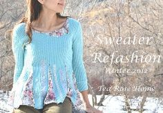Tutorial: Sweater refashion with romantic flaire (and flare), also changed neckline and sleeve length.