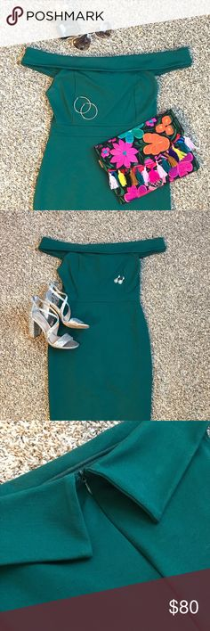 """EMERALD GREEN 💚💎 MIDI, OTS, BODYCON DRESS 🔥🔥🔥 Midi, off-the-shoulder, bodycon dress in a bold color that is so 🔥🔥🔥. Can be worn both playfully and elegantly!  Medium fit me perfectly (typically size 4-6) and the hemline fell about 2-3 inches below the knee (I'm 5'3""""). Rayon/nylon/spandex blend. Zips up the back.   Only worn once!  No swaps. Make me an offer & kill it in this pretty little number. 💁🏼♀️ Lulu's Dresses Midi"""