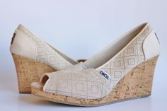 Toms Womens 10004966 Natural Woven Diamond Classic Wedge High Heels Shoes Size 9