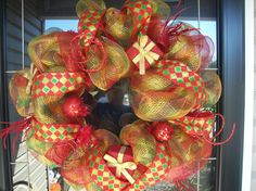Deco Poly Mesh Wreaths | Christmas Deco Mesh Present Wreath by lilmaddydesigns on Etsy