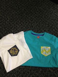 Appliqued Pocket Tee!  Bring in your own shirt or we can provide one!  ANY COLOR!  $15-$20  #pockettees  #applique  #monogramming  #leisalovelydesigns