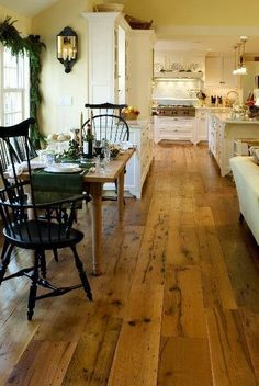 Windsor chairs and wide plank pine floors House Design, Wood Floors, Home, Country Kitchen, Wide Plank Flooring, House, Home Kitchens, Beautiful Kitchens, Reclaimed Wood Floors