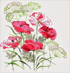 Pink Poppies ~ Pattern: http://graszkowa.blogspot.ro/search/label/HAFT%20KRZY%C5%BBYKOWY?updated-max=2013-10-25T20:56:00%2B02:00&max-results=20&start=16&by-date=false